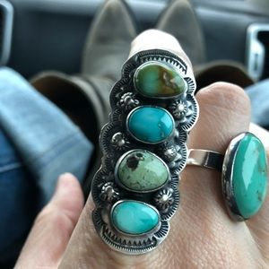 Statement authentic Turquoise ring-sterling silver